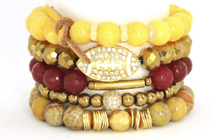 TEAM ROCKS! USC Football RED AND GOLD BRACELET STACK