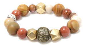 The Foxy Stack - Fire Agate and Sandstone Bracelets Bracelets
