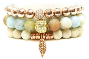 The Mirage Stack - Rose Gold and Amazonite Bracelet Set Bracelets