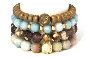 The River Rock Stack: Amazonite Blue and Gold Bracelets Bracelets