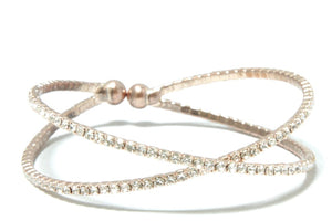 The Sedona Stack - Fossil Rose Gold and Rhinestone Bracelets Bracelets