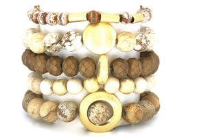 Tumbled Rock Stack: 5 Neutral Stone Bracelet Stack Bracelets