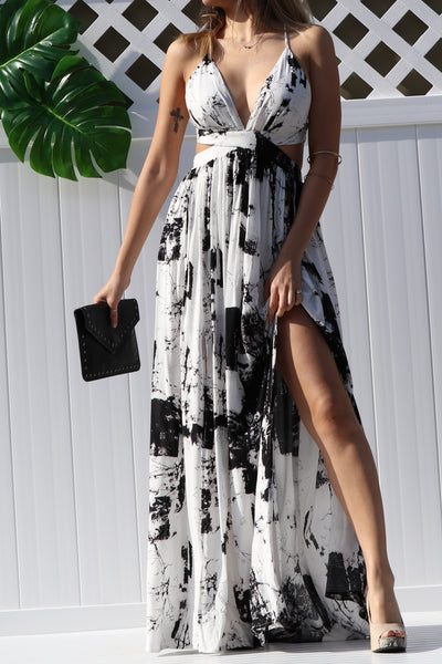 Woven Black and White Maxi