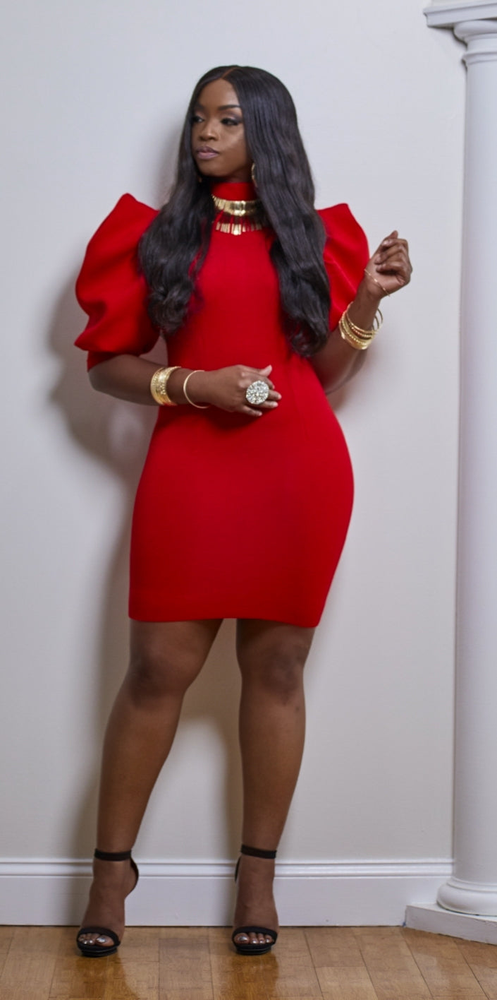 Red Puff Sleeve Dress