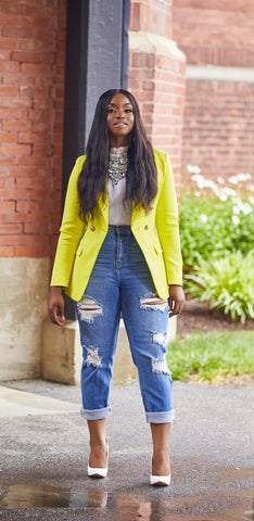 Yellow Double busted Blazer