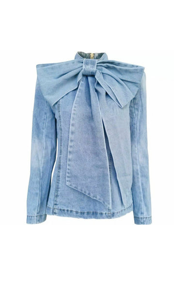 Denim Bow Tie Top