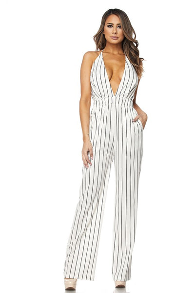 White Striped Halter Jumpsuit