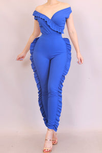 V Neck Ruffle Jumpsuit