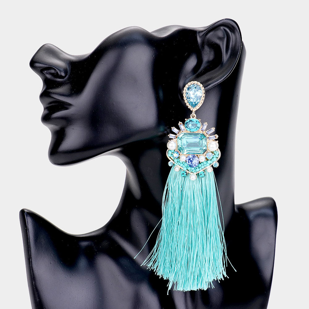 LIGHT BLUE CLUSTER TASSEL DROP
