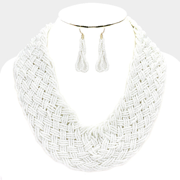 White Braided Statement Necklace