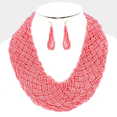 Braided Beaded Statement Necklace