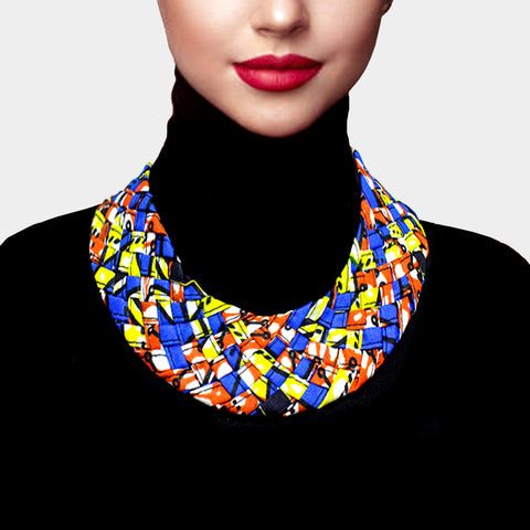 BRAIDED PATTERNED FABRIC BIB NECKLACE