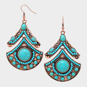Tribal Turquoise Metal Earrings