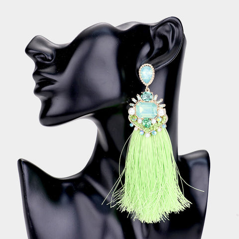 GREEN CLUSTER TASSEL DROP