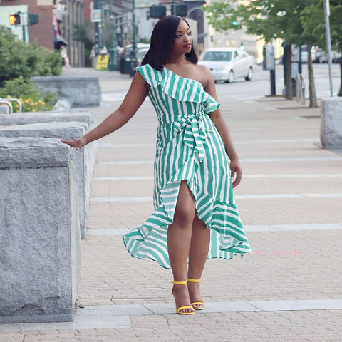 Ruffle High Low Maxi Dress