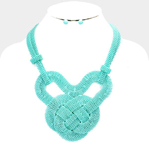 Mint Knot Mesh Metal Necklace