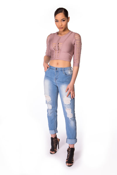 Cutout Mid Sleeve Bandage Top