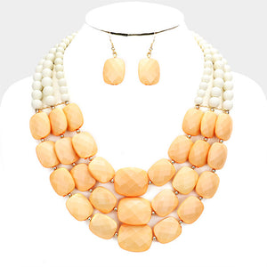 Triple Strand Peach Beaded Necklace