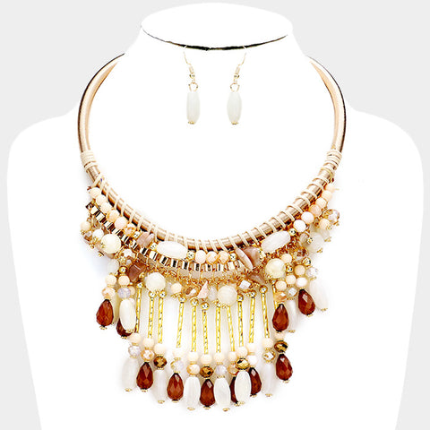 Multi Bead Fringe Necklace