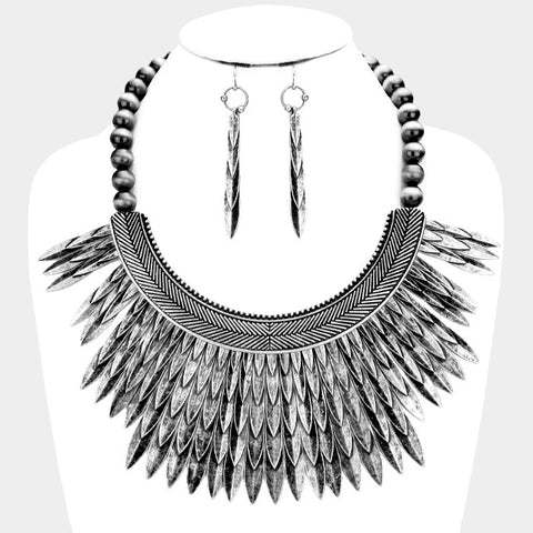 Tribal Silver Feather Necklace