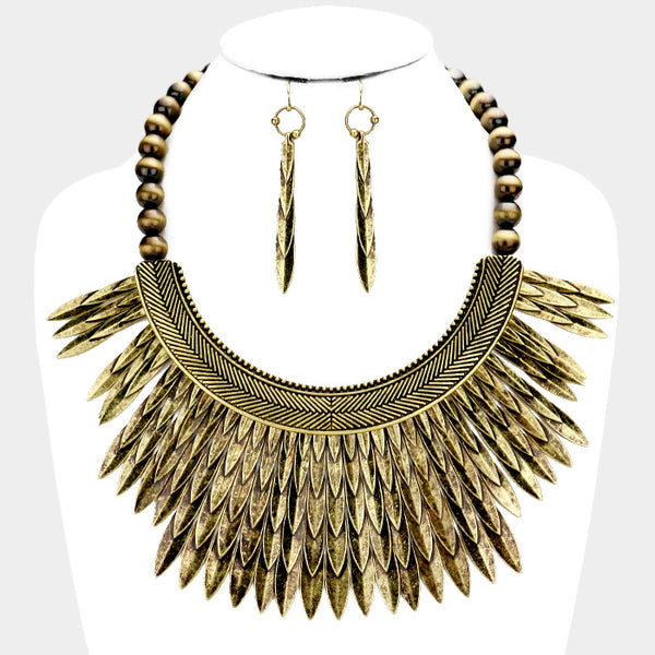 Tribal Gold Feather Necklace