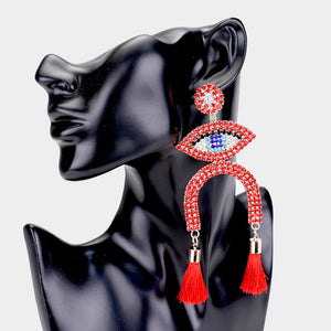 RED DOUBLE TASSEL DROP