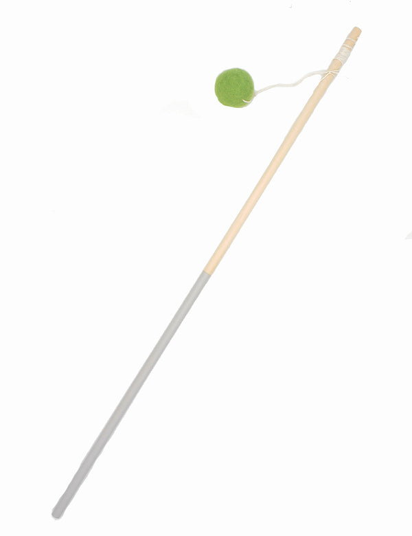 Wood & Wool Cat Wand | Green
