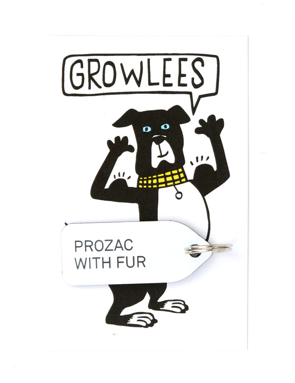 Prozac With Fur Dog Tag | White