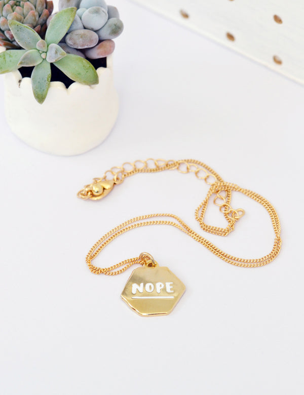 'Nope' Collar Tag | Gold