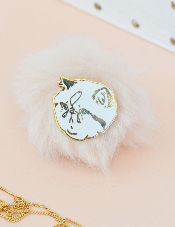 Sad Cat Pin | Gold & White