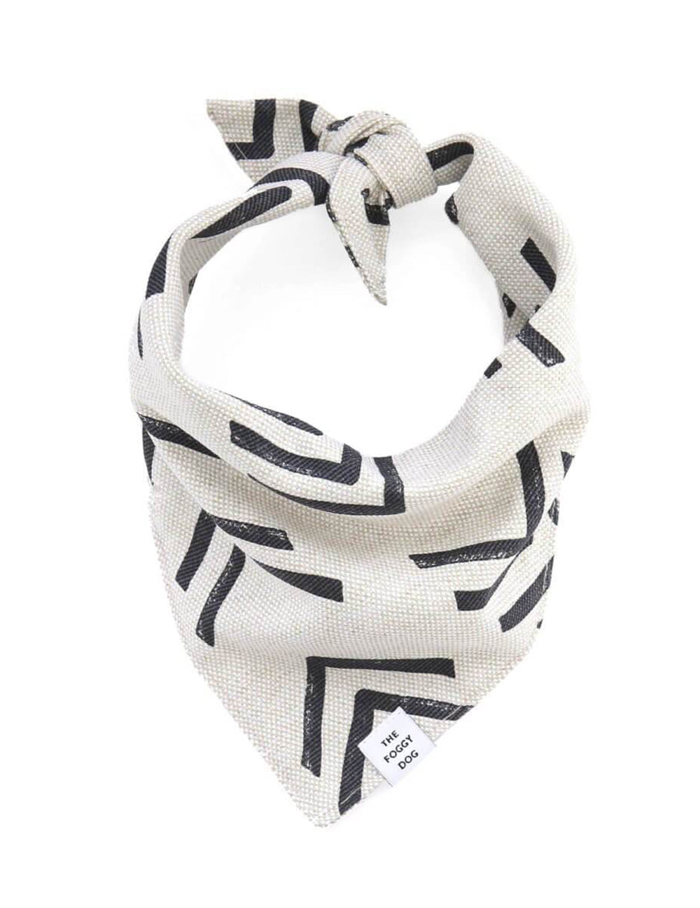 Modern Mud Cloth White Dog Bandana