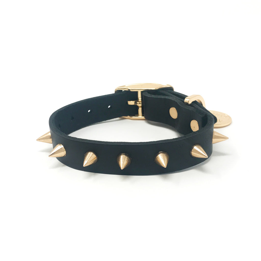 Spike Dog Collar | Gold Noir