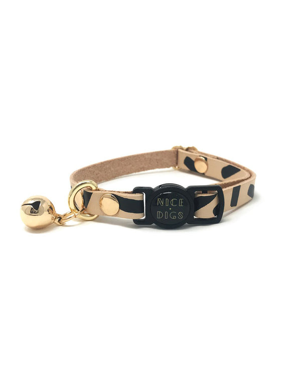 Tiggy Leather Black Cat Collar