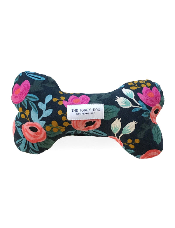 Rosa Floral Navy Dog Bone