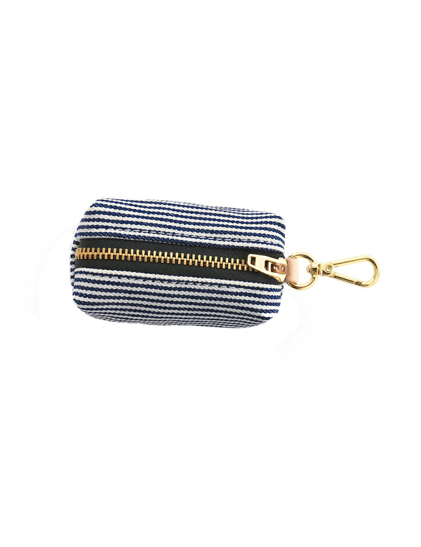 Denim Railroad Stripe Leash Bag