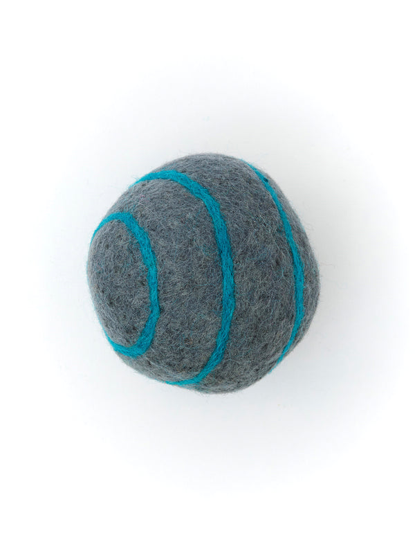 Striped Boiled Wool Balls | Grey & Blue