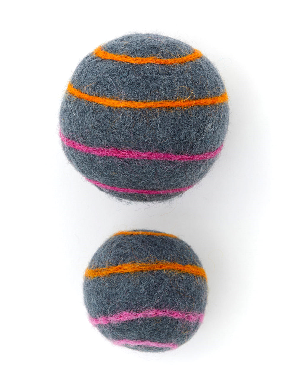Striped Boiled Wool Balls | Grey, Pink & Orange