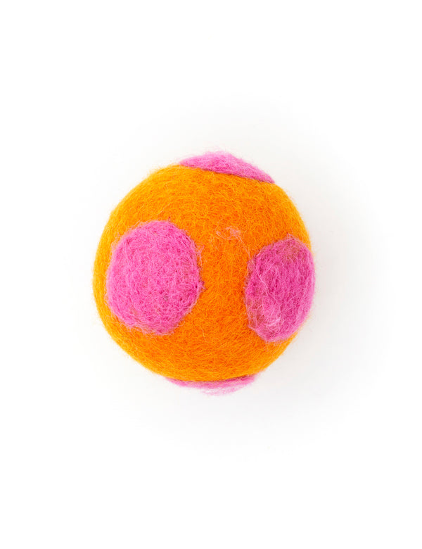 Polka Dot Boiled Wool Balls | Orange & Pink