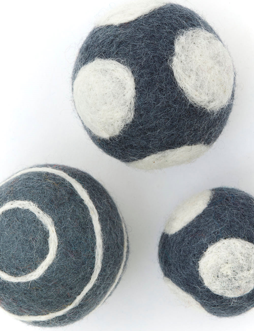 Polka Dot Boiled Wool Balls | Grey & White