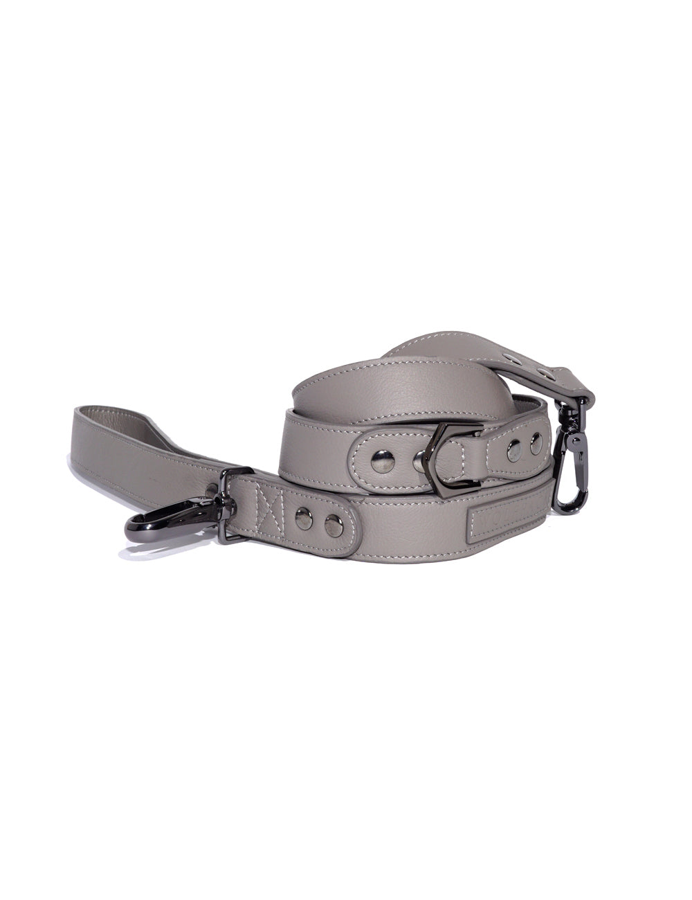 Latte Leather Leash | Cloud Grey
