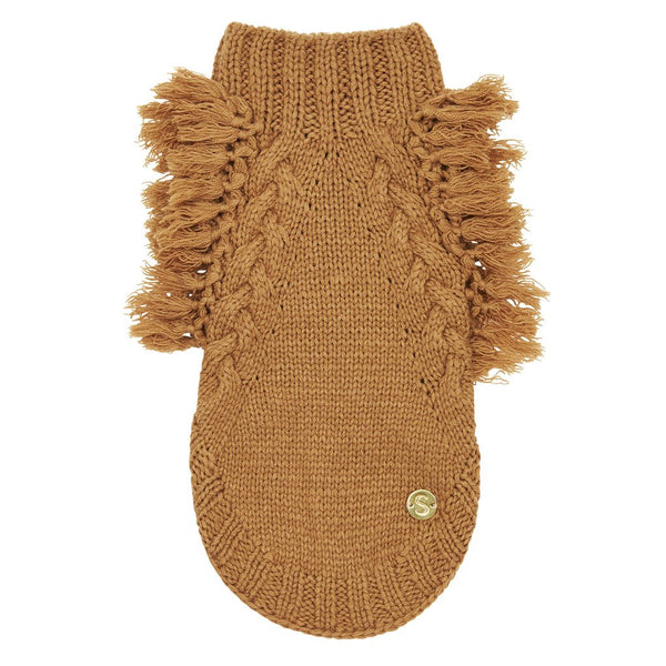 Merino Wool Fringe Dog Sweater | Toffee