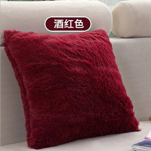 Soft Shaggy Sofa Cushion Cover Solid Color Throw Pillow Covers Cushion Case Decorative Pillow Case Plain Blue Red Coffee 45x45