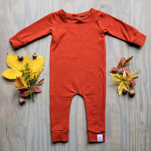 Rust Romper with Sleeves