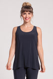 Basic tank with a relaxed body and round neckline. Classic shorter length.