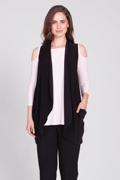 Sleeveless vest with an open drape front and rounded hemline with slouchy front pockets.