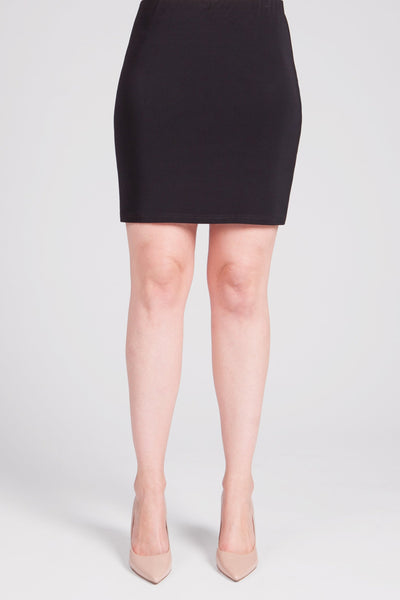 Classic, stretchy knit mini skirt with fitted silhouette and a pull on waistband.