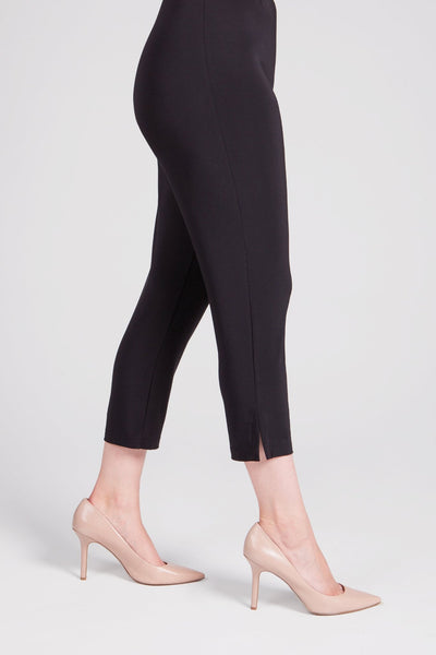 Shorter length pant with a narrow leg, elastic waist and slits at the ankle on the outseams.