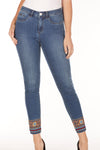 Olivia Slim Ankle Denim Embroidered Hem Jeans by French Dressing Jeans