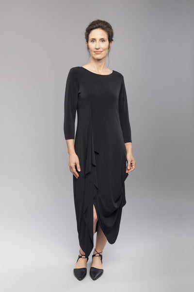 Draped dress with 3/4 length sleeves and side pleating.  Features a reversible crew to V-neckline to be worn front or back!