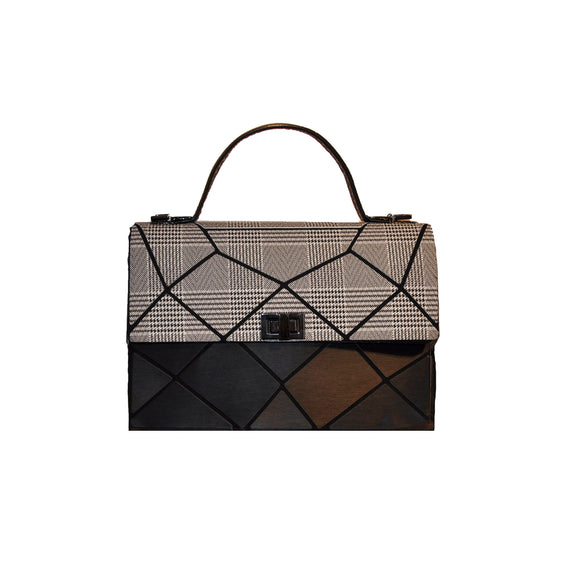 Two Tone Lock Front Geo Tote